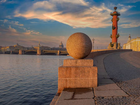 Panorama of Saint Petersburg. Russia on a summer day. Rostral calones against sky. Excursions in embankment of Saint Petersburg. Panorama of St. Petersburg from embankment. Holidays in Russia