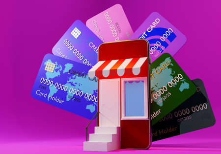 Online shop and credit card. Global shopping concept. Shop in phone. Open sign on store. Shopping on credit. Smartphone in form of shop. Bank credit or loan. Online shopping app. 3d rendering