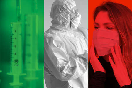 Outbreak of the virus in Italy. Epidemiologist and infected against the background of the Italian flag. Concept - treatment of the virus. Stopping the spread of the epidemic. Antidote for the virus