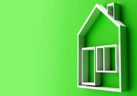 Home pictograms. A simple visual representation of a house. The layout of the illuminated building is located sideways. A dwelling on a green background with space for text. 3d image of the house.