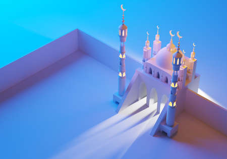 Place for namaz concept. 3d illustration. Territory of mosque is fenced with a wall. The area for namaz in front of mosque. Namaz in Islam. 3d mosque and minarets on a blue background.