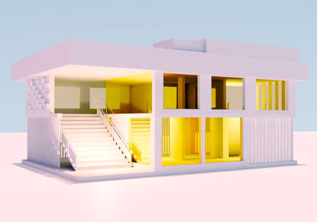 Mock up of a modern house on a white background. A two-story building with a flat roof. Three-dimensional model of the house. Architectural design concept. Architectural house model 3d. White cottage