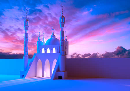 Mosque building on background of sunset. Mosque with two minarets at edges. Pink sunset is behind her. Concept - muslim prayer. Mosque symbolizes Muslim architecture. Minarets with crescents