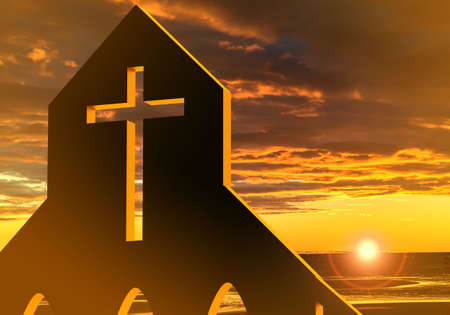 Catholic cross on sunset background. Wall with opening in form of a cross. Fragment of the Catholic Church. Concept - Religious architecture. Catholic cross in architecture. 3d symbol of catholicism Stockfoto