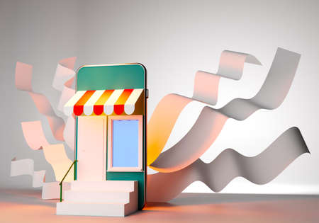 Online shopping. Shopping in the mobile app. Store consists of a smartphone and white ribbons. Opening an online store. Online business. A retail store in a mobile phone. Place for text. 3d rendering.