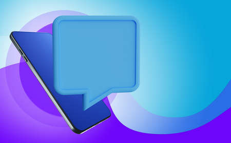 A smartphone and a dialog bubble. A cloud for text next to a smartphone. Mobile phone layout and On a blue background. Advertising and promotion of goods. Informing about promotions. 3d rendering