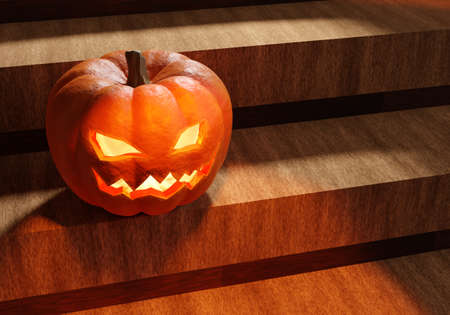 Halloween pumpkin on wooden steps. Jack lantern. Glowing halloween pumpkin. Jack lamp. The symbolism of Halloween. Background with a smiling pumpkin. Place for text. 3d rendering