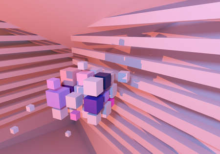 Abstract geometric background. Abstract background with 3D elements. Light wallpaper with many cubes. Pink background. Pink geometric texture. Multi-colored pattern. 3d rendering wallpaper