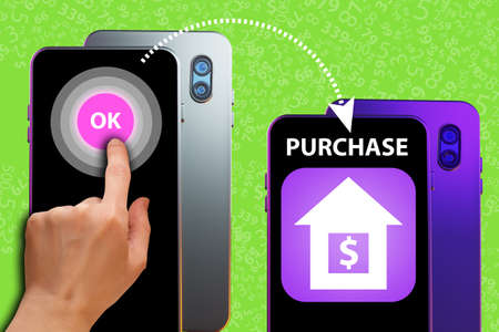 Buying a new home. Transfer money online. The concept of buying and paying for a new home through a mobile application. A realtor application for a smartphone. Transfer of money for a new apartment.