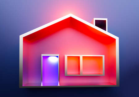 A schematic representation of a small house. A house with a light in the window. The concept of home comfort. Comfortable housing. Real estate concept in 3d. Real estate transactions. Buying a home.