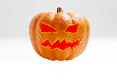 Halloween pumpkin on a light background. Jack lantern. Pumpkin on the eve of All Saints Day. A pumpkin with a carved face. 3d image.