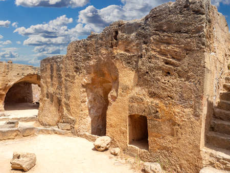 Attractions of Cyprus.  Ancient of Paphos on background of sky. Archaeological Park of city of Paphos. Excavations of ancient Mediterranean city. Cyprus guide