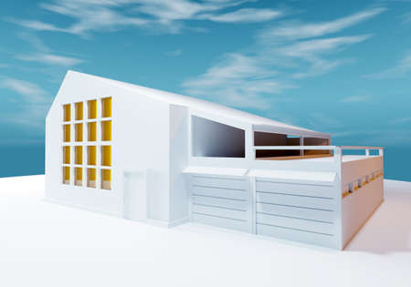 Abstract cottage mockup. White building with a veranda and two garages. Layout of an unusual building against the sky. Business center. Office-commercial building. Office rental. 3d rendering Stockfoto
