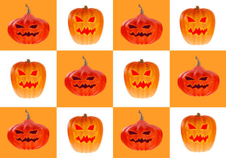 Halloween background. Poster with Halloween pumpkins. Geometric background with pumpkins. Jack lantern. Postcard on the eve of All Saints Day. Pumpkins with faces in orange and white squares. 3d image