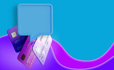 Credit cards and Dialogue bubble. Three credit cards on a purple background. Space for the text. Credits, loans. Information about bank cards in cloud for text. Lending and non-cash payments. 3d image