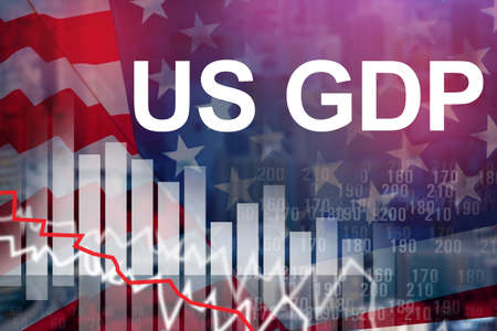 Slow down production in US. Drop in economy in US during crisis. US GDP logo next to graph down. Crisis in US banking system. Concept stock market panic led to a decrease in GDP. Financial recession Stockfoto