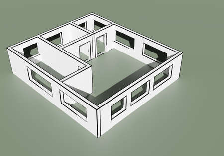 Drawn house layout. The layout of the apartment. Building mockup without a roof. Architectural project of a modern cottage. 3d layout of the house. Three-dimensional model of building. 3d rendering Stockfoto