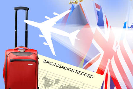 Flight concept with immunization record. Coronavirus vaccination certificate. Travel suitcase as a symbol of international travel. Leisure travel during covid-19. Exempting from quarantine covid-19