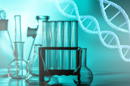 Genetic engineering. Chains of DNA molecules against the background of a research laboratory. Genetic engineering in medicine. Biotechnology and gene manipulation. Analysis of human chromosomes. Stockfoto