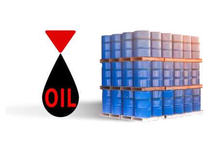 Drop of oil. Concept - oil refining services. Blue barrels are stored on pallets. Inscription oil in a black drop. Concept - rental of a warehouse for petroleum storage. Barrels on a white background