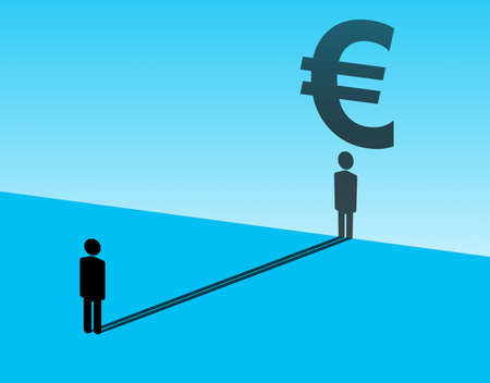 Euro in human dreams. Euro investment concept. Buying euros stock exchange. Silhouette of investor dreams of profitable in euro. He sees European currency icon in reflection. Man on blue background