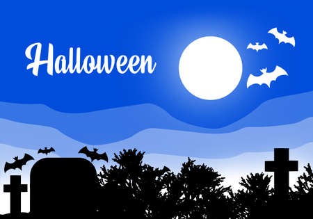 Halloween night. Halloween poster. Halloween on the background of the graveyard. Bats and the Moon. The symbolism of All Saints eve. All Saints Eve poster. Full moon illuminates the cemetery. 3d image Stockfoto