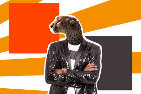 A man with a jaguar head. Collage of modern art. The characters of people are displayed by animals. A jaguar in a shiny human jacket. Modern design. Human nature. Character traits.