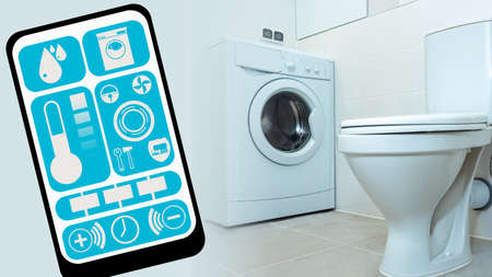 Washing machine with wifi function. Smart home mobile application. App for smart home on smartphone screen. Household appliances are controlled by mobile app. Washing machine remote control function Stockfoto