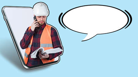 Architect or builder is talking to the customer on the phone. Worker discusses the details of a construction project. Man in builder uniform and dialog box bubble. Place for text next to architect. Foto de archivo