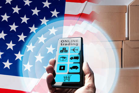 Application interface for online trading. Concept - online trading in USA. Online sale of goods in USA. Mobile app retailer of connections of states of America. Retail business internet in US.