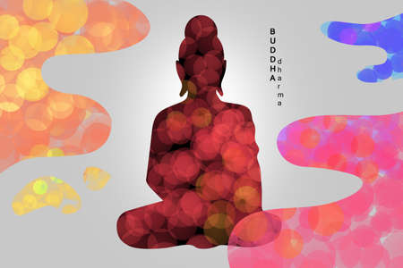 Buddhism background. Buddhist religion. Dharma inscription next to silhouette of a buddha. Belief in Buddhism. Concept is an appeal to God in Buddhism. Religion in India. Buddha philosophy.