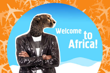 Collage Welcome to Africa. Art work about traveling to Africa. Man with a jaguar head. African trip. Unusual journey. Jaguar head on the body of a dark-skinned man. Vivid impressions. Stockfoto