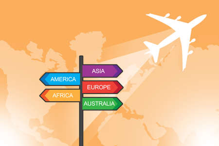 Background on theme of travel. Illustration for travel agency or tourism industry. Orange background travel industry. Sign with names of continents next to plane. World map in background.
