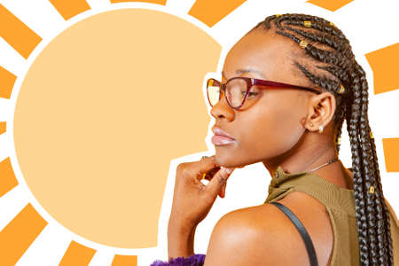 Magazine-style collage with space for text. African-American woman on the background of a text field. Brooding dark-skinned girl with glasses. African-American woman with braids. Dark-skinned person