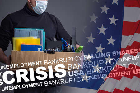 Unemployment in US of America. Unemployment problems in United States. Unemployed American with a layoff box. Fired American near a flag USA. Concept - US economic problems due to virus.