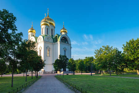 Catherine's Cathedral in Pushkin. Attractions near Saint Petersburg. Cities of Russia. Suburbs of Saint Petersburg on a summer day. City of pushkin in sunny weather. Excursions to regions of Russia Foto de archivo