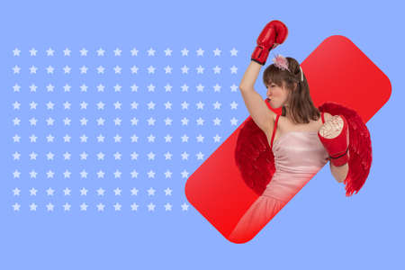 Woman makes a winning gesture. Girl wearing boxing gloves. A collage in the magazine style. Success, victory, achievement of goals. An emotional girl and a place for the text. Red and lilac collage. Foto de archivo