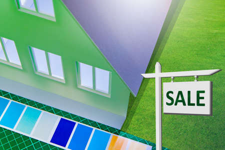 Sale of real estate. Sale of a renovated house. Ad for sale on the background of the cottage. Implementation of houses under construction. A building for a new owner.