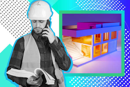 Buildings maintenance. A master in a work uniform on the background of a house layout. A bright collage in the magazine style. A man in a construction helmet with documents in his hands.
