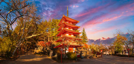 Nature of city of Fujiyoshida. Panorama with temple in Japan. Chureito pagoda in sunny weather.