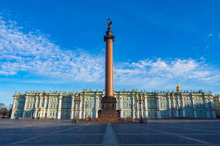 Excursions in Saint Petersburg. Cities of Russia. Winter Palace and Palace Square. Excursions in center Petersburg. Guide to sights of Saint Petersburg. Column in front of winter palace. Russia tour Editorial