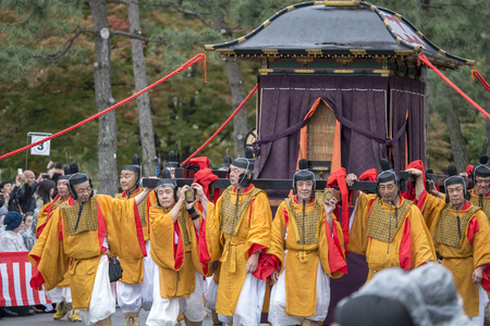 renowned: KYOTO, JAPAN - OCT 22: The Jidai Matsurihistorical parade October 22rainy day, 2014 in Kyoto, Japan. It is one of Kyotos renowned three great festivals. Editorial