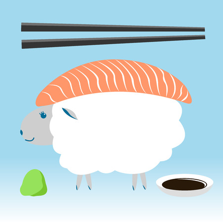 sheep , salmon sushi with chopstick