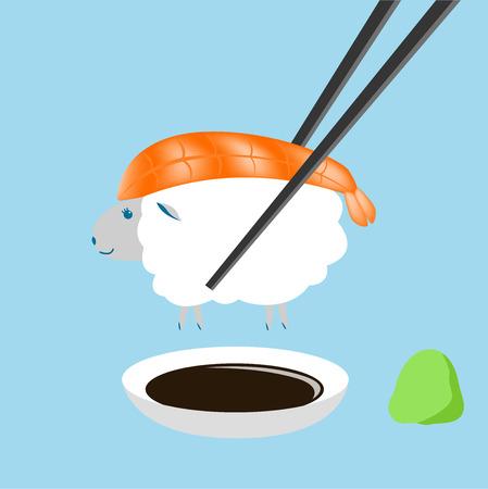 chopstick: sheep , shrimp sushi with chopstick Illustration