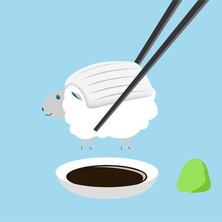 ovejas, sushi de calamar con el palillo Ilustración de vector