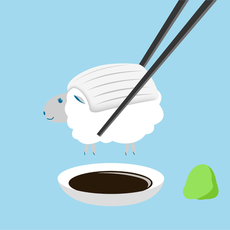sheep , squid sushi with chopstick