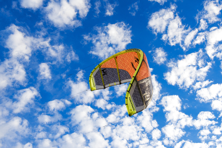 kite surfing: kite surfing on the sea with blue sky