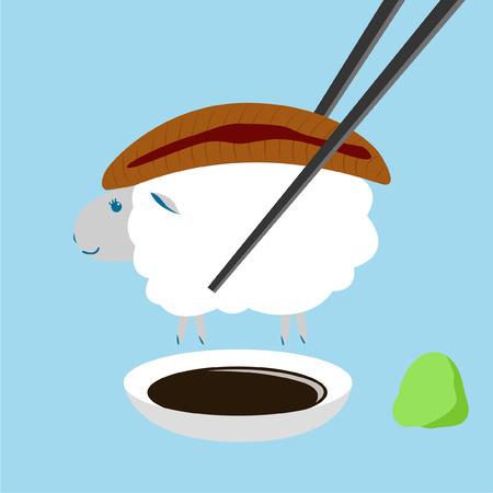 chopstick: eel sheep sushi with chopstick, shoyu and wasabi Illustration