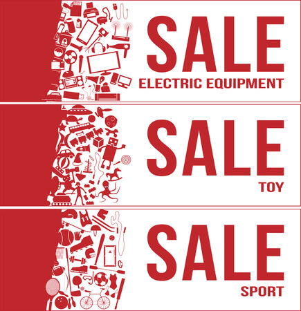 train table: Sale tag banner 3 sets , electric equipment , toy , sport with a lot of product inside