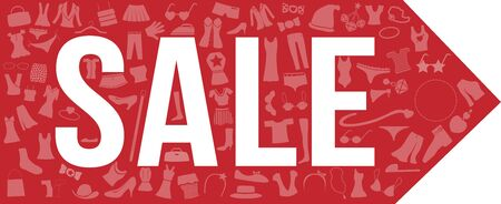 high heeled: Sale tag banner with a lot of product inside  women Illustration